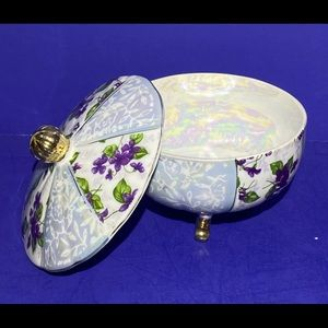 Accents - Vintage Porcelain Floral Round TRINKET BOX